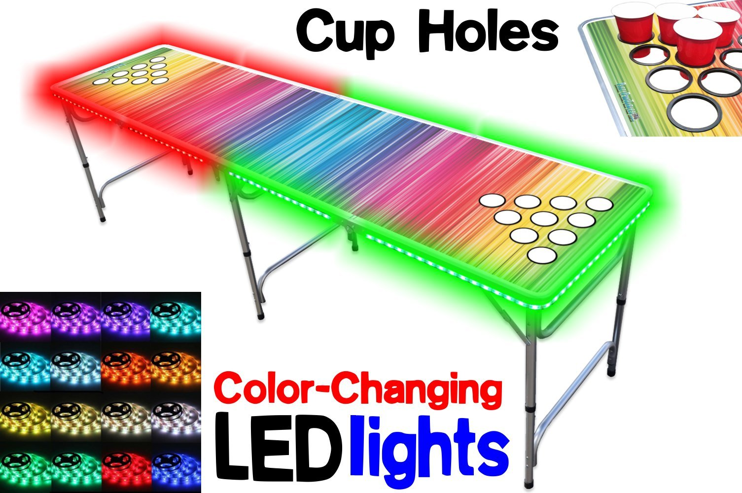 PartyPongTables.com 8-Foot Beer Pong Table with Cup Holes and LED Lights - Color Spectrum
