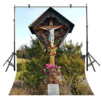 191a1c0cd82 Amazon.com : LYLYCTY 5x7ft Christ Crucifix Backdrop Famous Christ ...