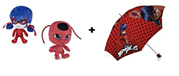 "Prodigiosa, Las aventuras de Ladybug - Pack Paraguas + Peluches LadyBug & Tikki 7"""