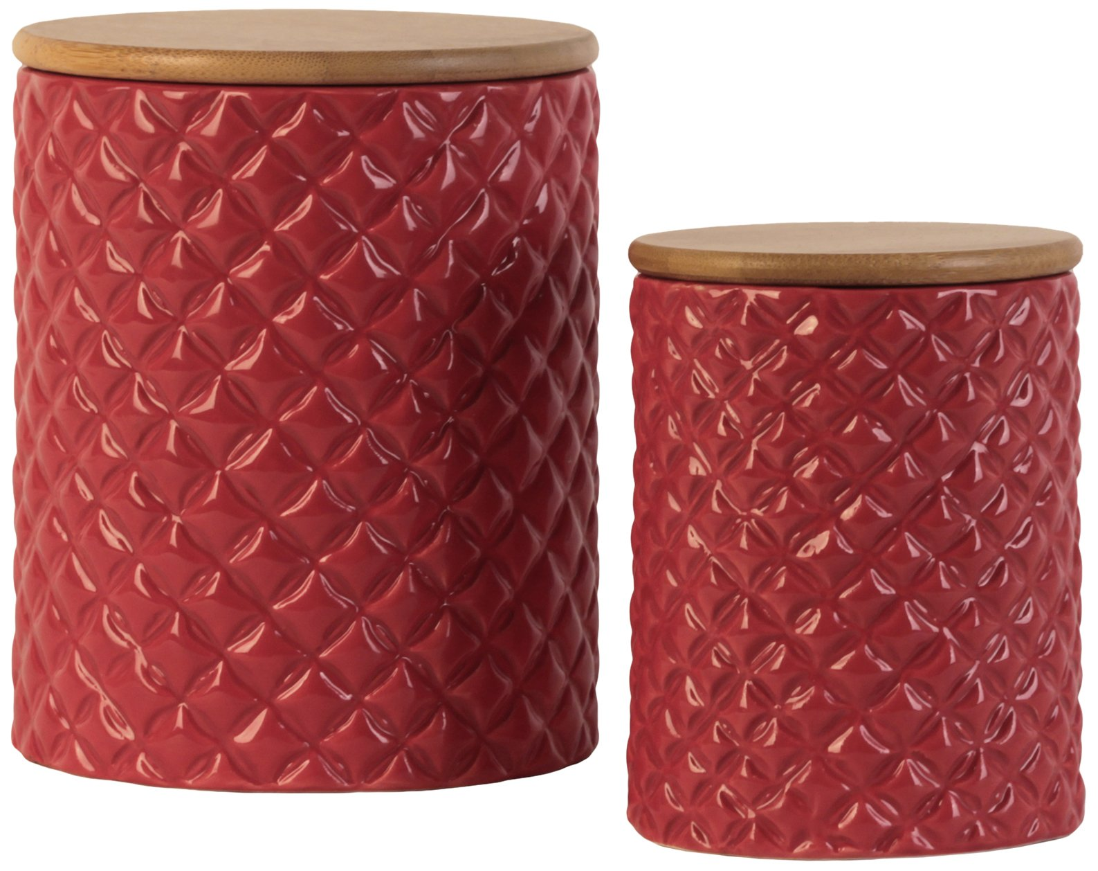Urban Trends 50935 Ceramic Round Canister with Lattice Diamond Design Body/Bamboo Lid Gloss Finish Red 2 Piece
