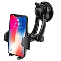 Phone Holder for Car, VicTsing Universal Windshield/Dashboard Mobile Phone Holder Strong Suction 360 Rotate Cell Phone Holder for iPhone X/8P/8/7P/7, Samsung Galaxy S8/S7/S6, Huawei and More