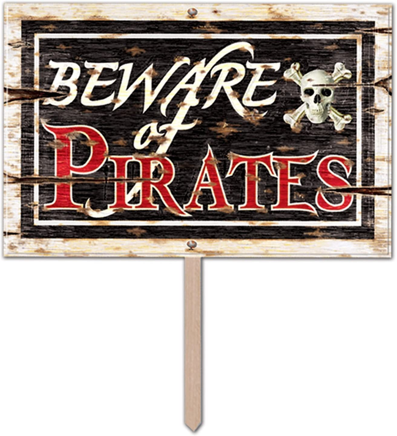 Amazon Com Beware Of Pirates 3 D Art Form Yard Sign Kitchen Dining