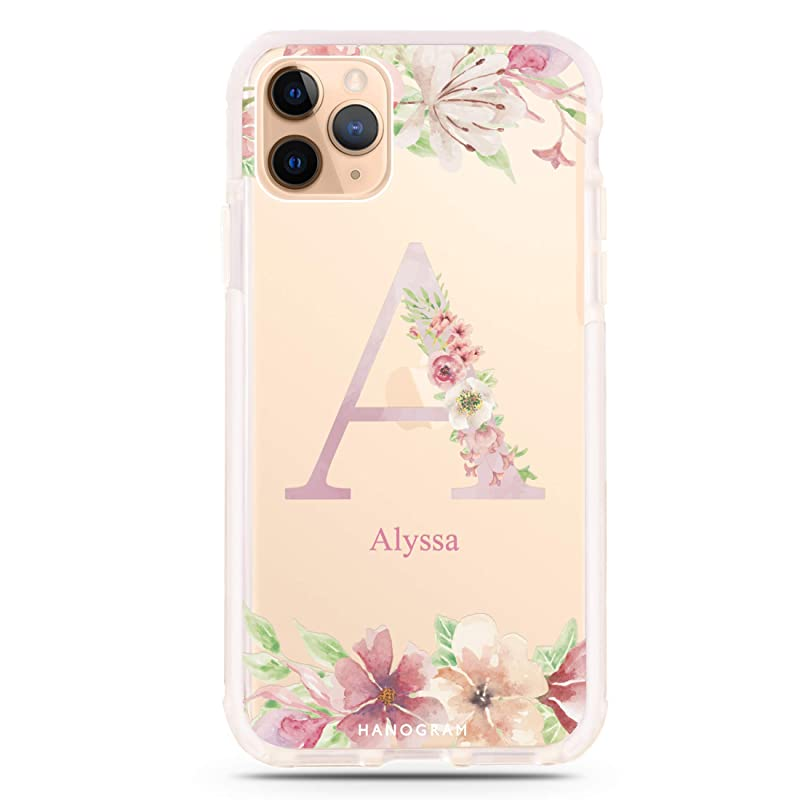 Custom Personalized Name iPhone Case for iPhone 11 Pro Case Monogrammed Flowers Phone Cover A239