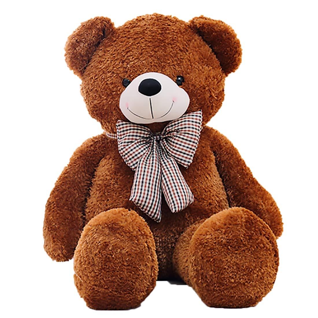 Zhyaj Teddybär,Bow Tie Bear Plüsch Handgefertigt Netter Entwurf Kein Geruch Es Ist eine PlüSchpuppe Super Weißher PlüSch Und PP-Baumwollpolsterung 80180CM Ist Eine Perfekte Wahl braun L