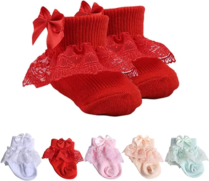 Newborn Toddler Kids Cute Lace Combed Cotton Ankle Socks Baby Girls Bowknot Sock