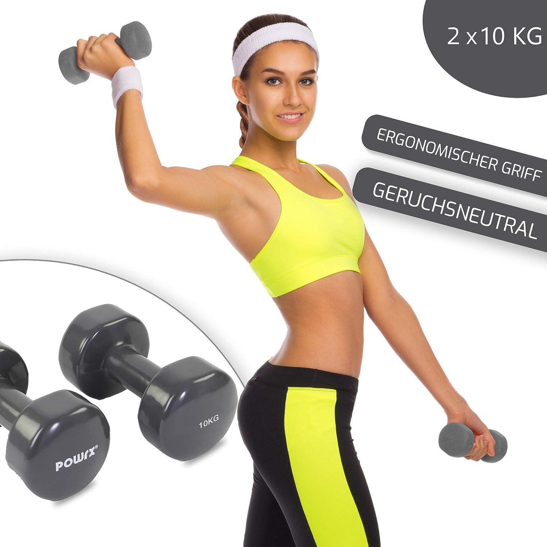 POWRX - Mancuernas Vinilo 20 kg Set (2 x 10 kg) + PDF Workout (Gris Oscuro): Amazon.es: Deportes y aire libre