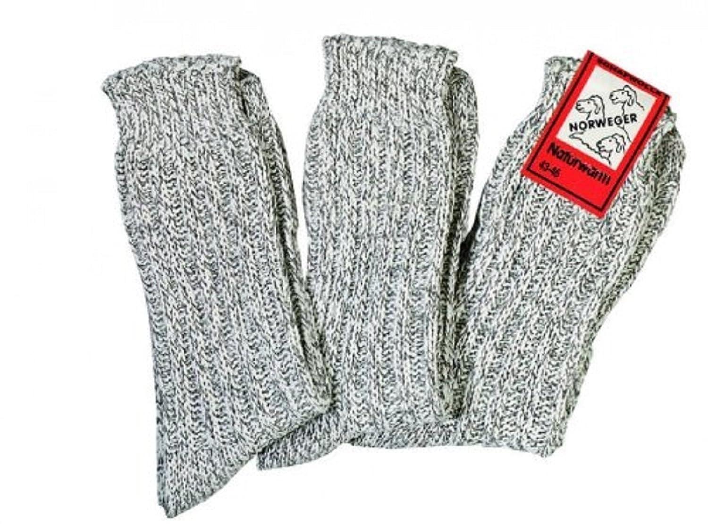 3 Paar Norweger Schafwollsocken für Damen und Herren wie selbst gestrickt Größe 39-42