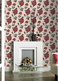 Super Fresco Rosey Red Floral Wallpaper Was