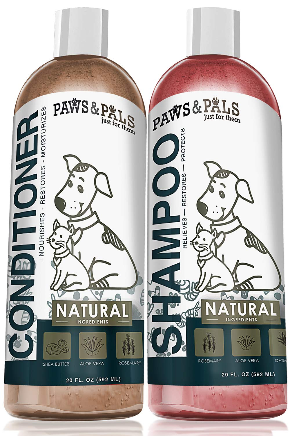 Natural Oatmeal Dog-Shampoo and Conditioner Combo - 20oz Medicated Clinical Vet Formula Wash for All Pets Puppy & Cats - Made with Aloe Vera for Relieving Dry Itchy Skin by Paws & Pals