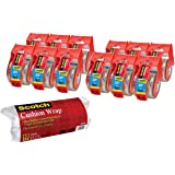 Scotch Heavy Duty Shipping Packaging Tape ZV3KX, 1.88 inches x 800 inches, 12 Rolls with Dispenser w Bonus Cushion Wrap