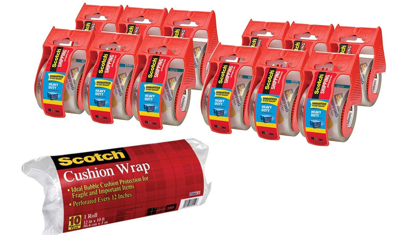 Scotch Heavy Duty Shipping Packaging Tape T55J73 1.88 inches x 800 inches, 12 Rolls with Dispenser w Bonus Scotch Cushion Wrap by  (Image #1)
