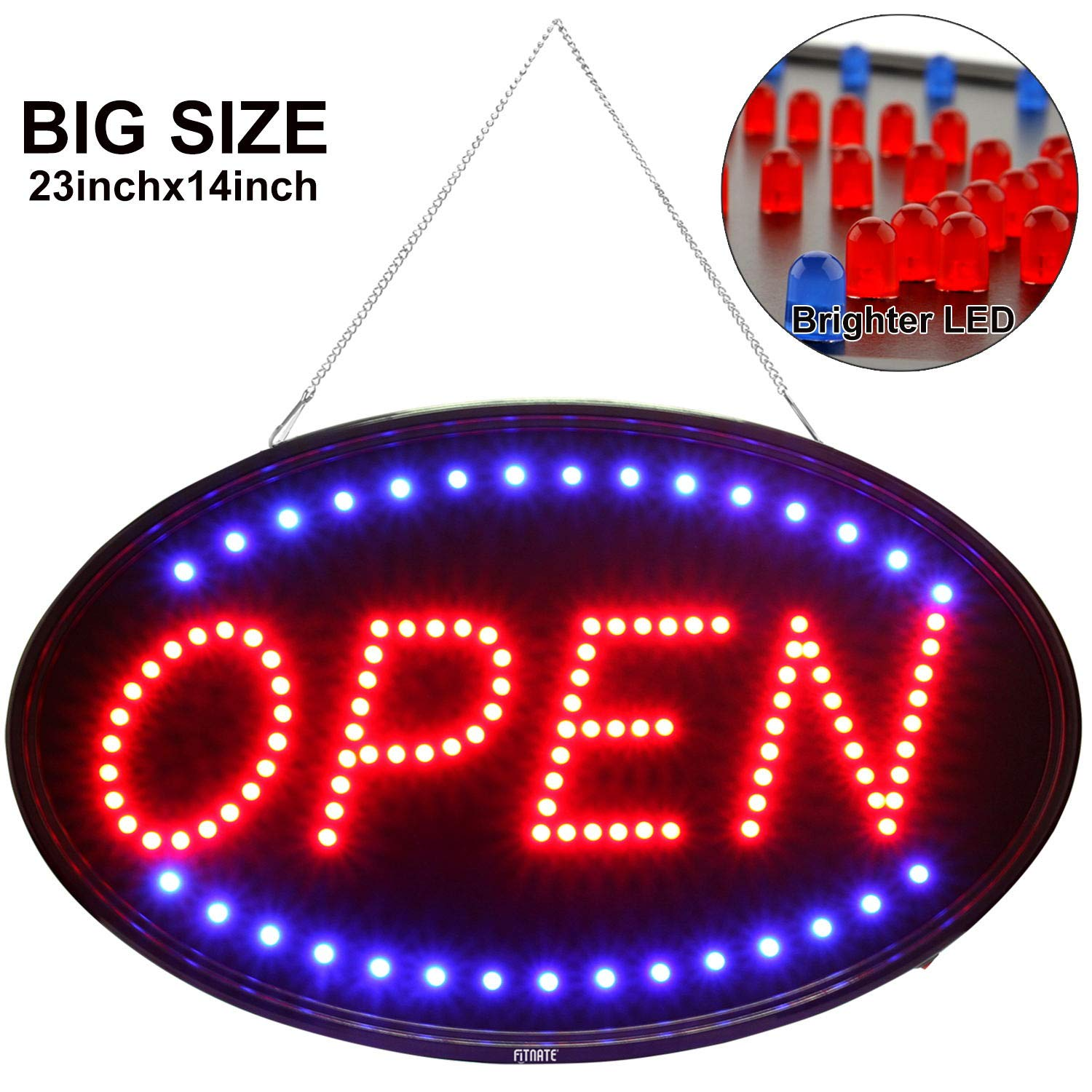 Larger LED Open Sign, 23x14 inches Brighter&Larger Advertising Board Electric Lighted Display -UL-Flashing or Steady Mode- Lighting Up for Holiday, Business, Window, Bar, Hotel, with Open Closed Sign by FITNATE