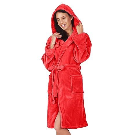 DecoKing Albornoz XXXL Corto Mujer Hombre Unisex Capucha Bata Microfibra Suave Agradable Ligero Fleece Rojo Robby