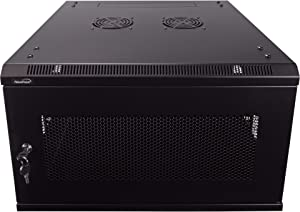 NavePoint 6U Deluxe IT Wallmount Cabinet Enclosure 19-Inch Server Network Rack with Locking Perforated Door 24-Inches Deep Black
