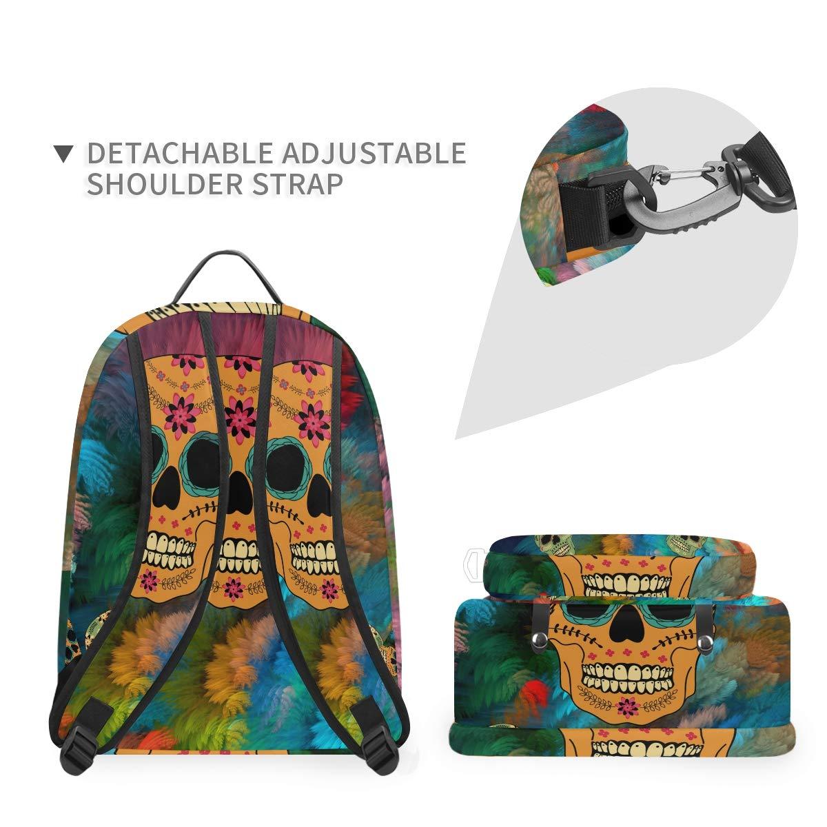 Cute Skull Flower Shoulder Backpack Messenger Crossbody Laptop Bag Student Bookbags for Kid Girls Boys