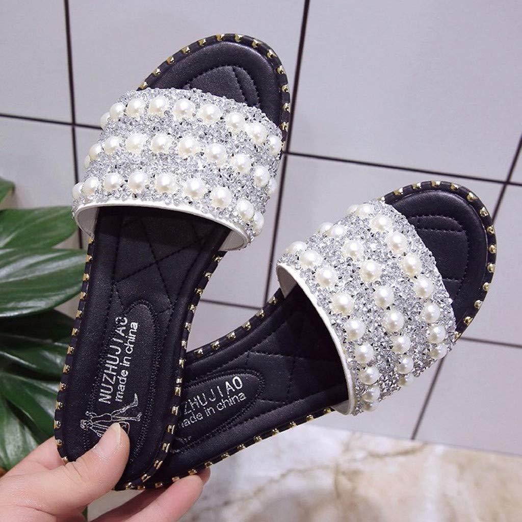 BEUU 2019 New Summer Womens Fashion Pearl Sequins Flats Non-Slip Sandals Wild Beach Shoes TQQ2019011501