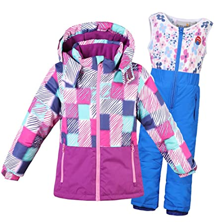 Thickened Winter Children Warm Windproof Waterproof Snowsuit Hooded Ski  Jacket With Pants for Boys Girls Clothing Outfit (Color   Pink 071381fdb