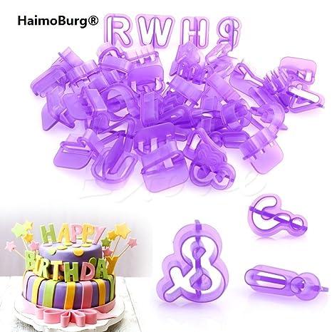 HaimoBurg 40 unidades Moldes de Tartas y Galletas en Forma de Letras, Números y Puntuaciones