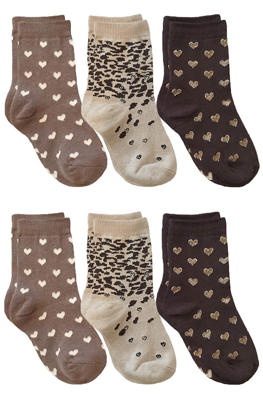 Country Kids Girls Chocolate Sweet Hearts Sparkly Novelty Socks Pack of 6
