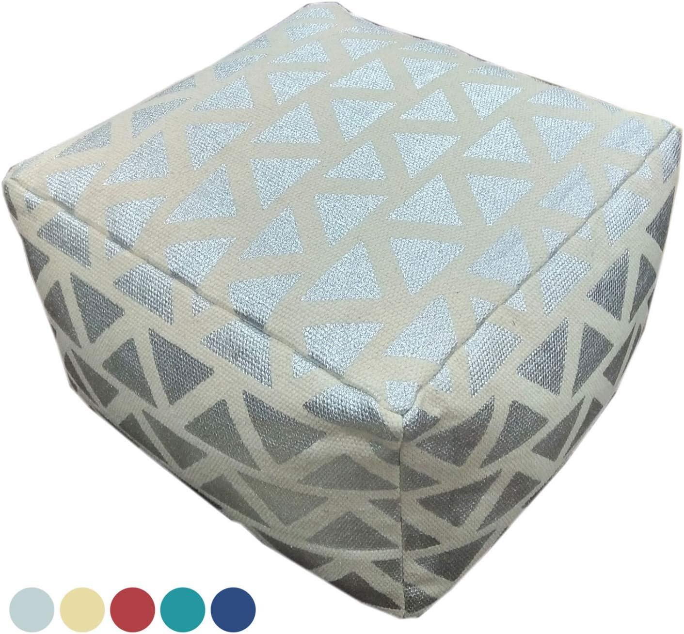 casamia Sitzhocker Sitzwürfel 55x37x55 cm Fußhocker Bodenkissen Design Pouf Kelim Style Maja 5 Farben Farbe metallic Silber