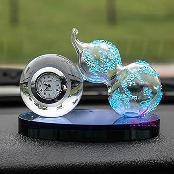 zhiming Cristal calabaza coche perfume asiento reloj calabaza auto adornos