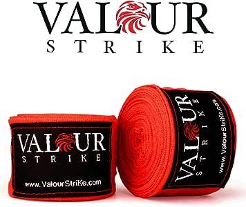 Valour Strike - Vendas elásticas para boxeo, Muay Thai Pro Blood Red Wrap Kickboxing, bandas elásticas para entrenamiento de artes marciales mixtas de algodón de calidad profesional, paquete doble de 4,5 m:
