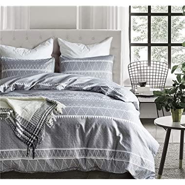 Fire Kirin Bohemian Duvet Cover Queen, 3PC (1 Duvet Cover + 2 Pillowcases) Utrl Soft Duvet Cover Sets Gray Triangle Pattern, Luxury Hypoallergenic Comforter Cover (Queen)