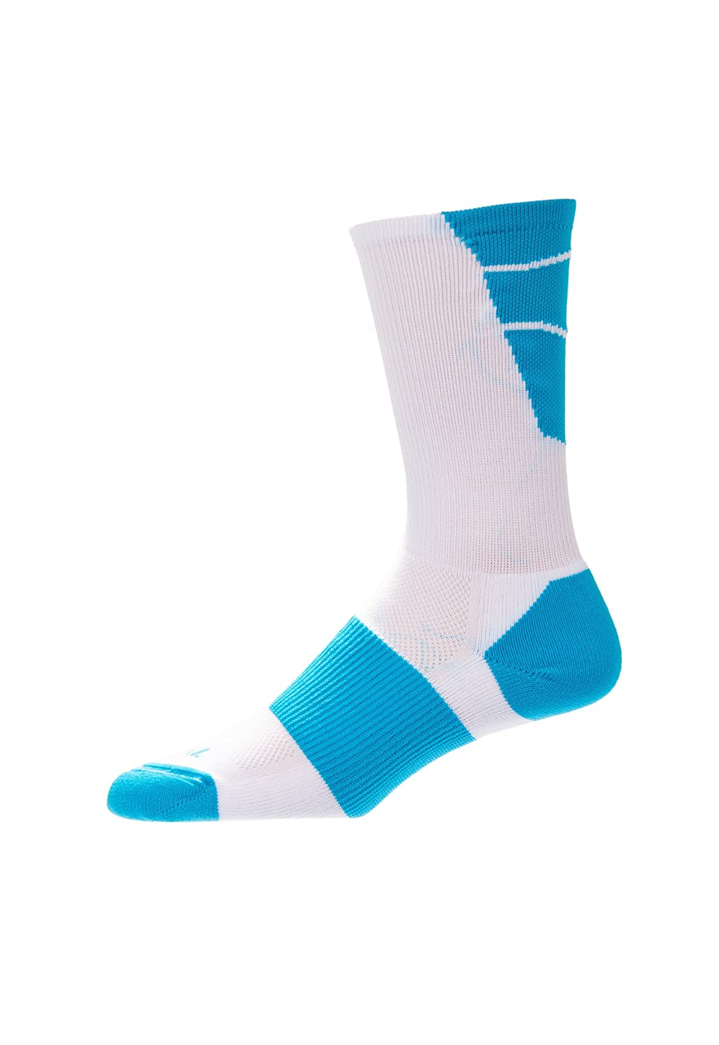 CSI Point Guard Performance Crew Socks Made In The USA White/Paradise Blue 6MAN8024