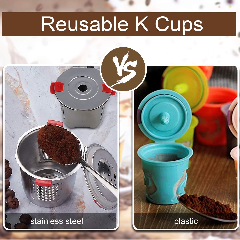 Reusable k Cups For Keurig 2.0 & 1.0 Coffee Machines Universal Stainless Steel Reusable Keurig Filter keurig Compatible K55 100% BPA-Free (4PC) by YEOSEN (Image #3)