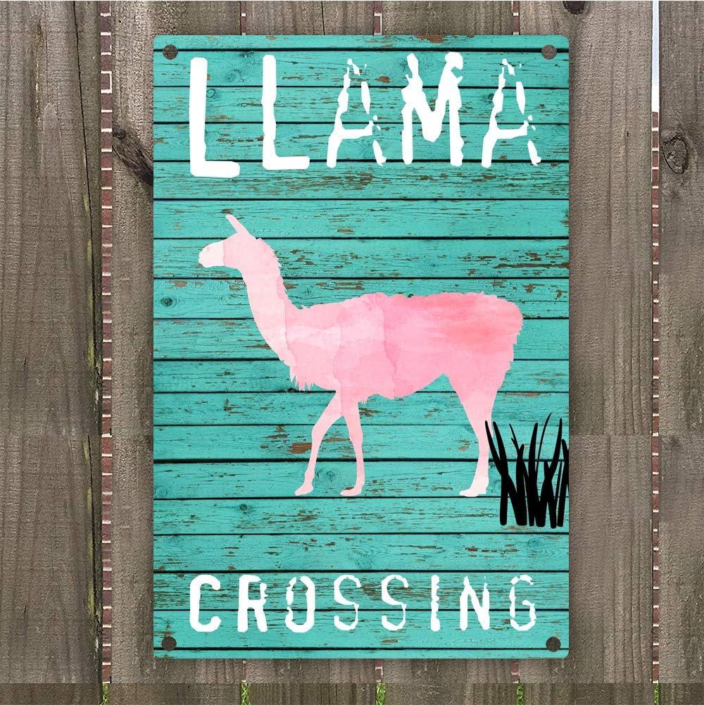 "Llama Crossing Vintage Retro Metal Warning Sign Wall Art 8"" x 12"", Desert Llama Theme Lovers Kids Boys Room Wall Decor"