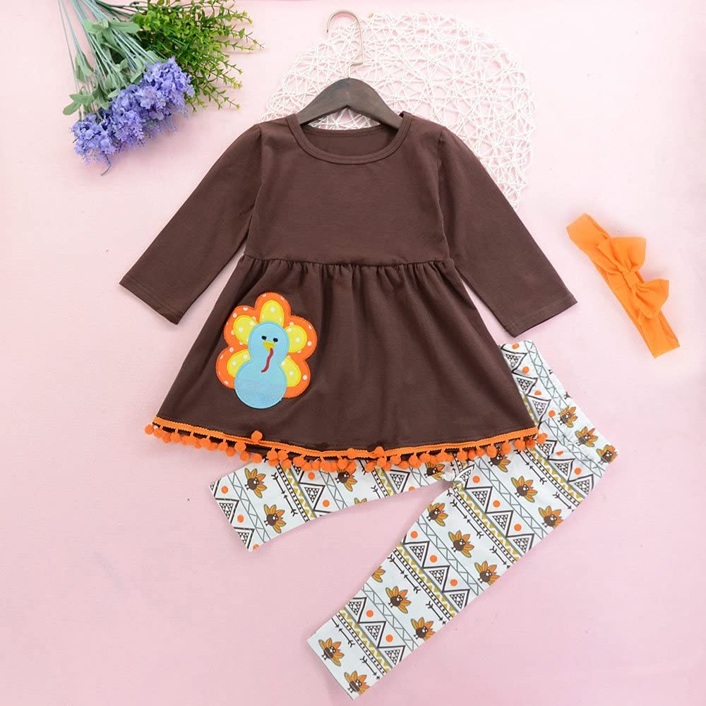 Weiyun Thanksgiving Toddler Kids Baby Girl Outfits Clothes Dress Tops+Pants Outfit Set