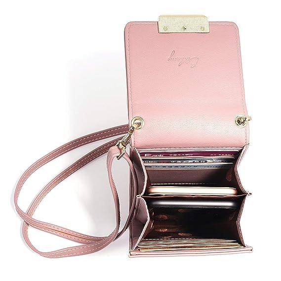 Cartera de piel para mujer con cremallera, correa desmontable y espacio para el teléfono móvil: Amazon.es: Electrónica