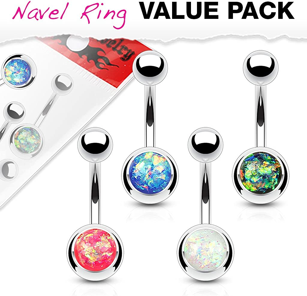 Inspiration Dezigns Belly Button Navel Ring 4 Piece Value Pack Synthetic Opal Glitter