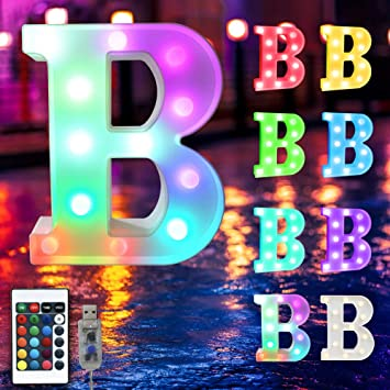 16 Color Changing Marquee Letter Light,Light Up Colorful 26 Alphabet Signs – Home Decor Name Signs – USB Powered LED Remote Timer – Lighted Vintage Accessories & Decorations-B