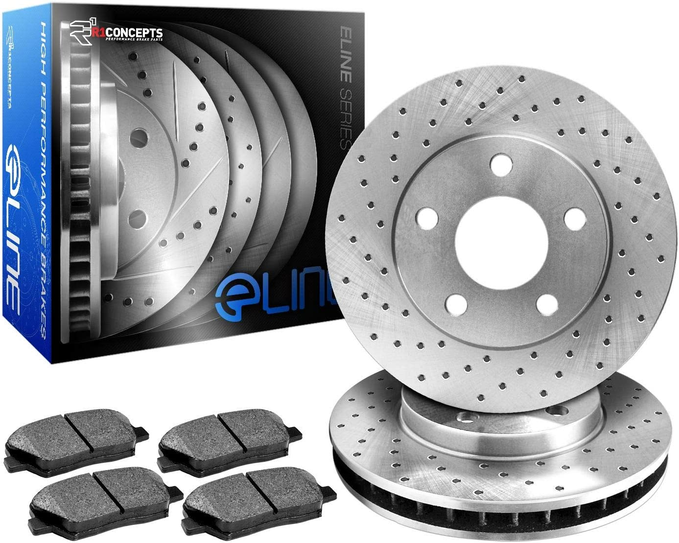 Front R1 Concepts KEX11745 Eline Series Cross-Drilled Rotors And Ceramic Pads Kit