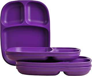 product image for Re-Play Made in USA Recycled Products, Set of 4 (Heavy Duty Large Sandwich Divided Plates with Three Compartments, Amethyst) Great for Outdoor, Camping, Party, Tailgating or Everyday Dining