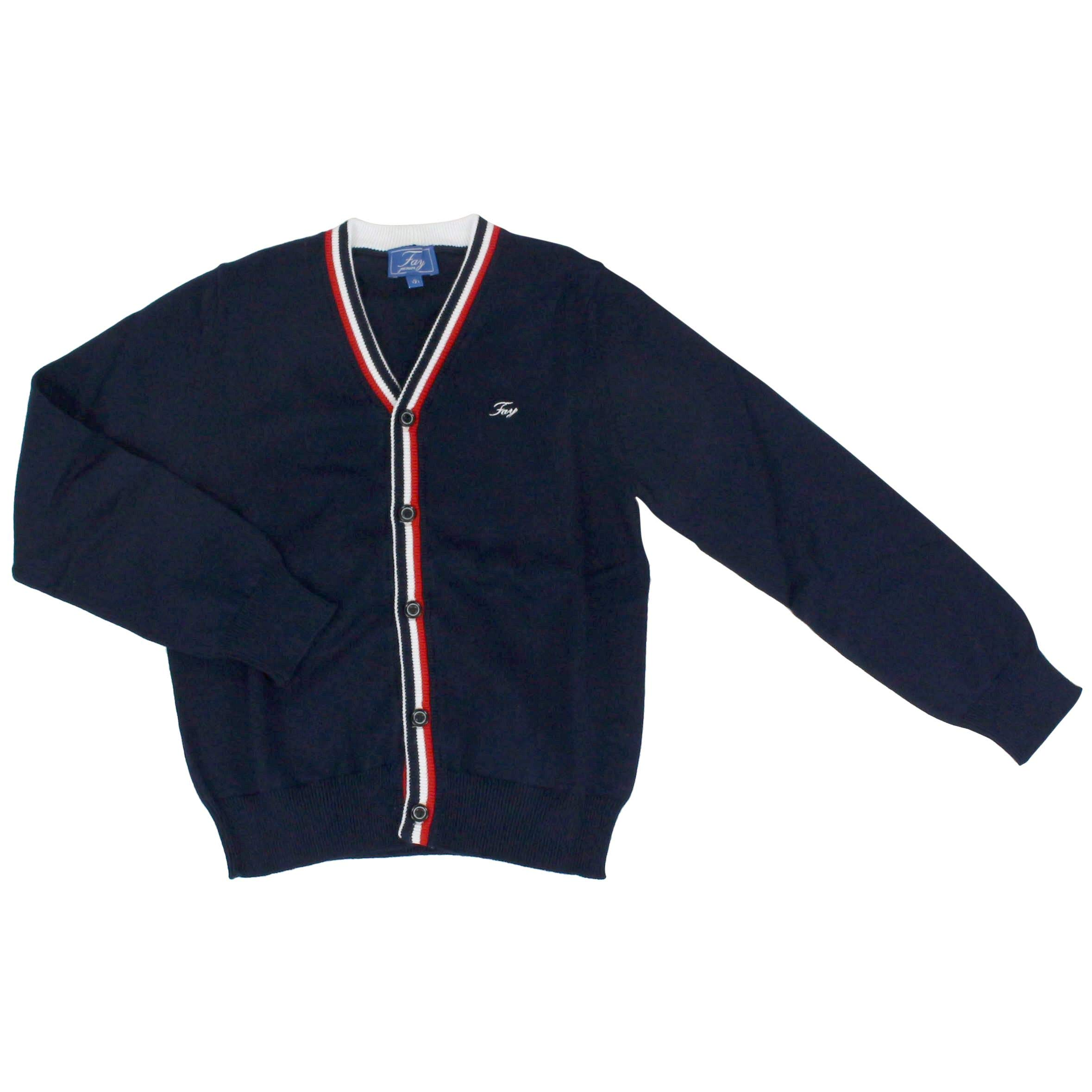 fay Boys Nnhc1387500qvtu807 Blue Cotton Cardigan