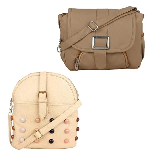 d0d1e2fbec Fillincart Women Beige Colour PU Material Pack of 2 Sling Bags  Amazon.in   Shoes   Handbags