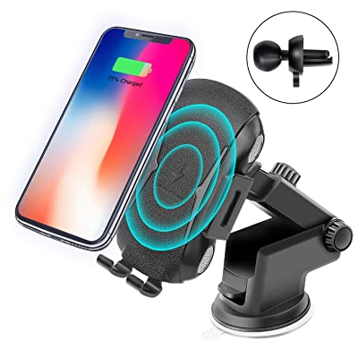 Wireless Car Charger Mount Kit,Automatic Clamping Qi Fast Wireless Car Charger,Smart Sensor USB Car Phone Holder,2 in 1 Air Vent Mount & Windshield Dashboard,Compatible with iPhone & Samsung [5Bkhe0405209]