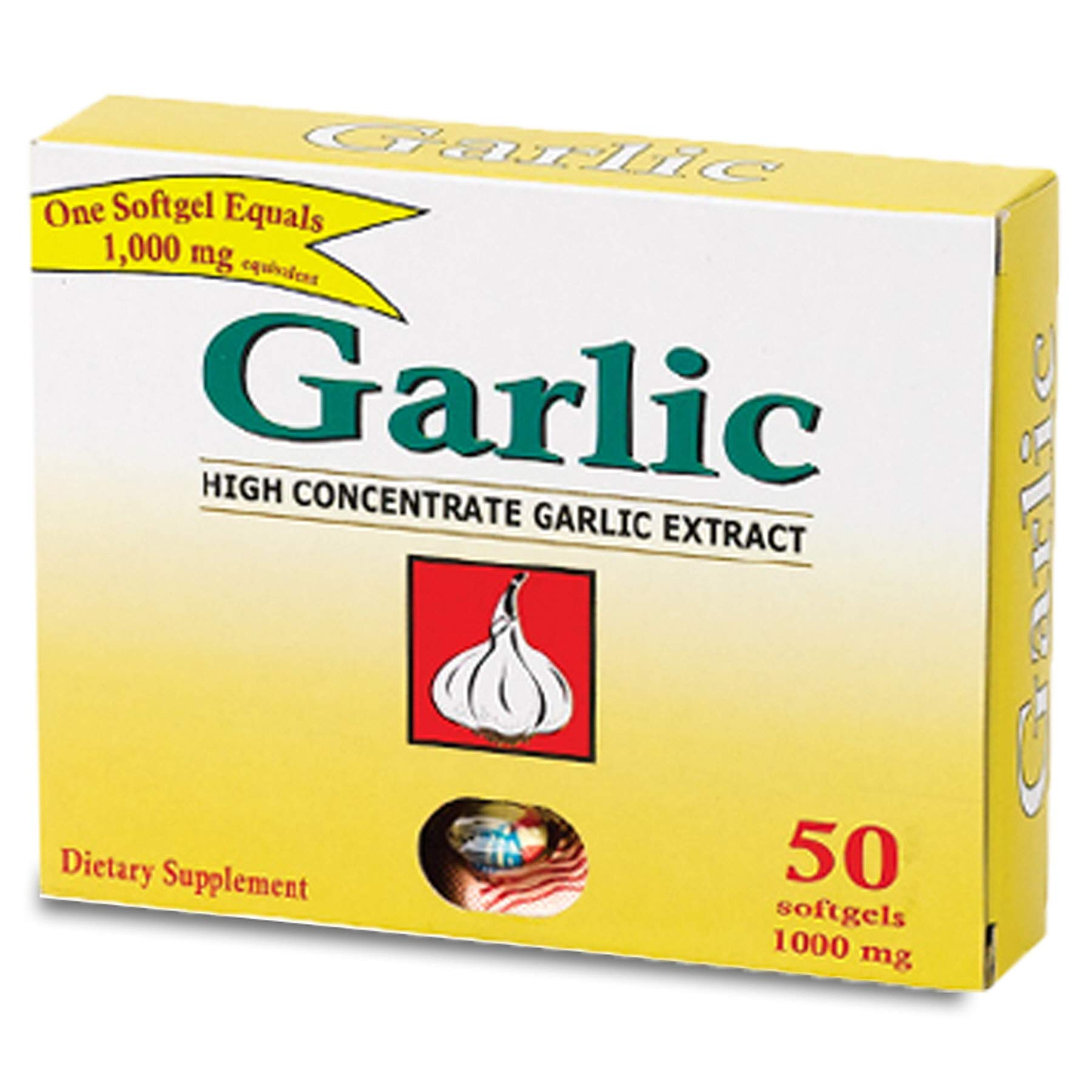 (Pack of 36, 1800 Ct) Garlic Extract Soft Gel, 1000mg