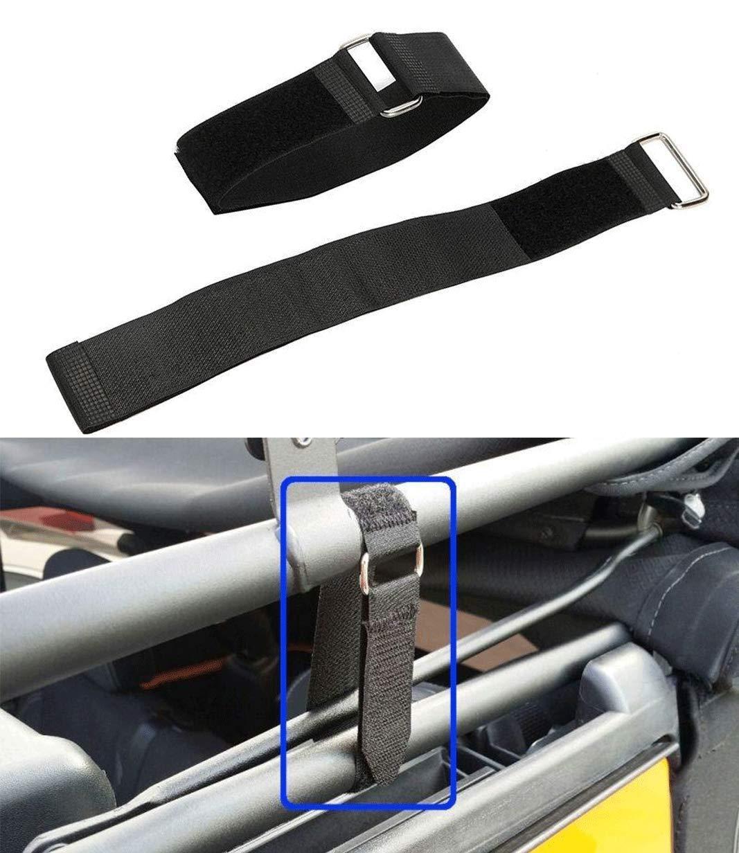 IRONWALLS 1 Pair Tie Down Straps Sunrider Hook Steel Loop Fasteners Rear Window Secure for Jeep Wrangler JK JKU YJ TJ JL JLU Unlimited /& Sports