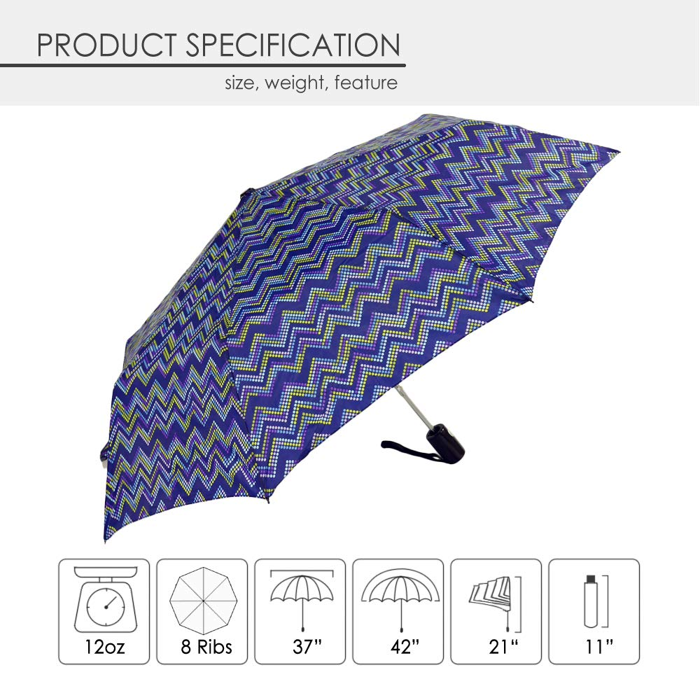 KUD 42 inch Compact Lightweight Auto-open umbrella (Multicolored D) by Keep You Dry (Image #5)