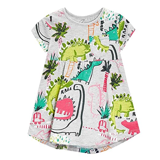 9c32bcc3fc80 Memela Girl Clothes Baby Girls Infant Kids Cartoon Dinosaur Dress Clothes  Sundress Casual Dresses (2year