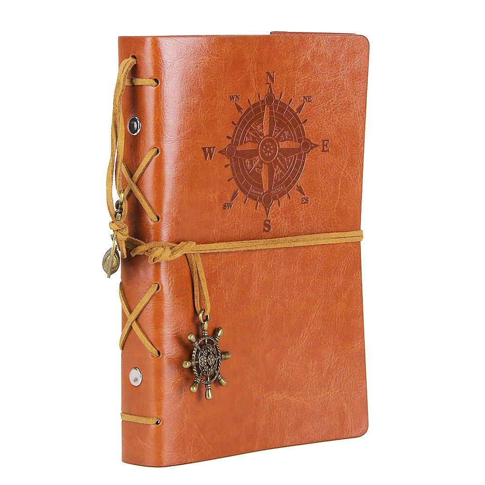 Diario con tapas de cuero estilo retro, marrón (xmp)
