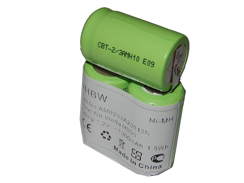 vhbw Batterie 1300mAh (3.6V) pour tondeuse à cheveux électrique WellaWella Xpert HS50, Tondeo ECO XP comme N-500AC 2/3A