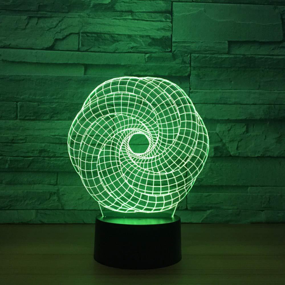7 farben ändern Atmosphäre abstrakt 3d verdrehte runde form led nachtlichter tischlampe schlafzimmer baby schlaf beleuchtung dekor geschenke