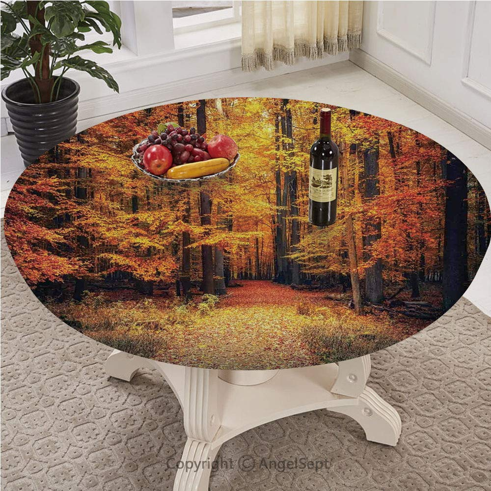 Fitted Table Cloth Round With Pull ropeEdge with Pull Rope Customized Fits 30 Inch To 72 Inch Tables,Farm House Decor,Magical Fall Photo in National Park with Vivid Leaf Plant Eco Earth Mystical Them by AngelSept-LJH