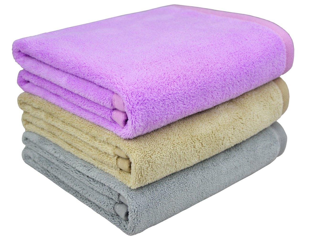 Mayouth anti-frizz super assorbente asciugamano in microfibra capelli asciugatura rapida teli da bagno per capelli lunghi e spessi, khaki 3-pack, 40cmX80cm