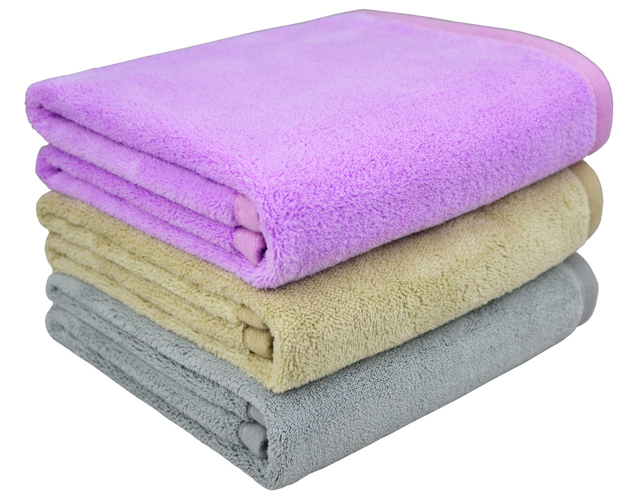Mayouth Hair Towels Super Soft Absorbent Bath Towels Microfiber Towels Fast Drying Anti-Frizz for Long & Thick Hair (16inch X 32inch, 3-Pack)