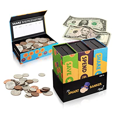 Educational 3 in 1 Money Bank with Character Book for Kids T Learn How to Save,Spend,Share Money Wise Perfect Birthday-Christmas Gift (Smart Banker Without Any Books): Office Products